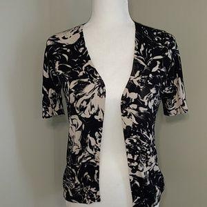 Talbots Black Floral Short Sleeve Cardigan SP